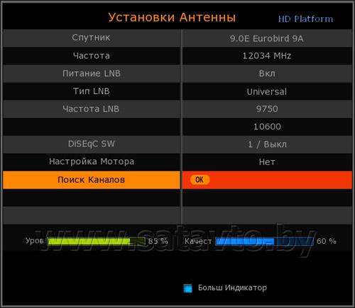 верхняя и нижняя частота антенны триколор воздух